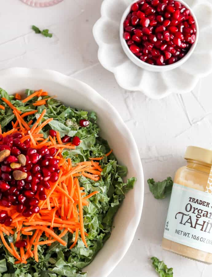 Best Kale Salad w/ Pomegranate and Carrots (Whole30& Paleo)