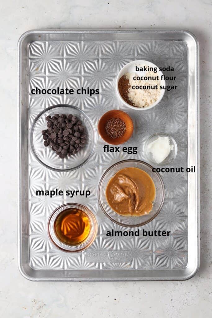vegan skillet cookie ingredients on a metal tray