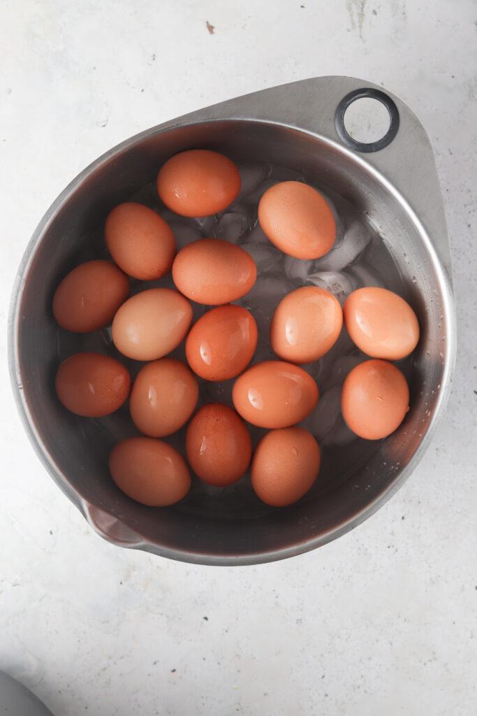 eggs in an ice bath