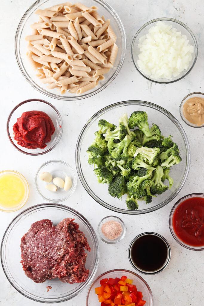 paleo sloppy joe ingredients in bowls