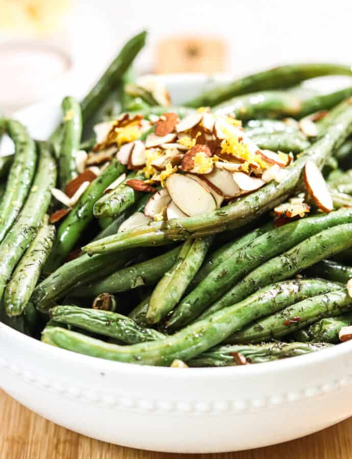 Lemon Dill Green Beans With Almond Slivers ( PALEO | VEGAN | WHOLE30)
