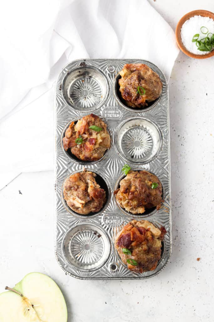 meat muffins overheat shot in a baking tray