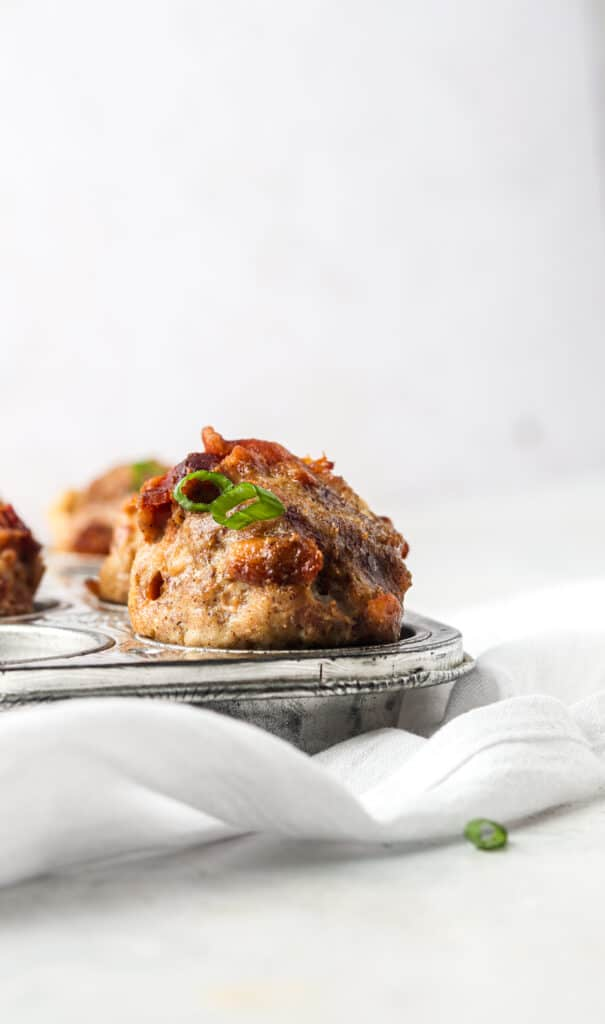 meat muffins in a baking tray