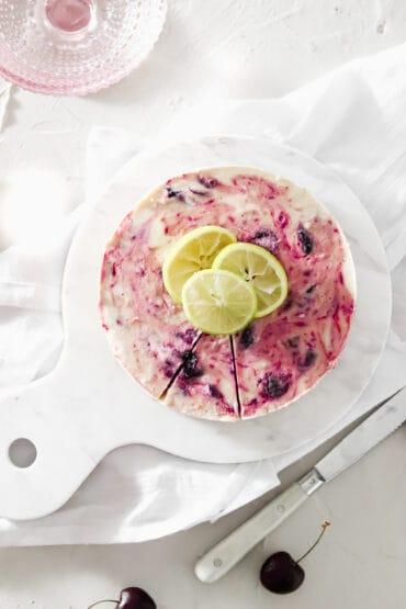 Vegan & Gluten Free No Bake Cherry Lime Cheesecake