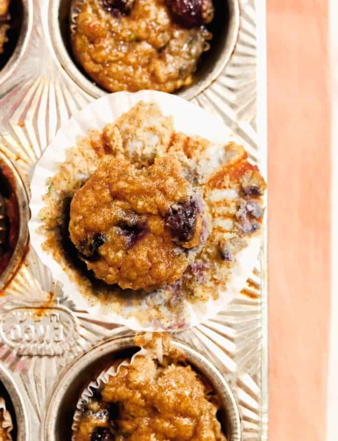 Protein Loaded Banana Blueberry Zucchini Muffins (REFINED SUGAR FREE | PALEO | GLUTEN FREE | DAIRY FREE)
