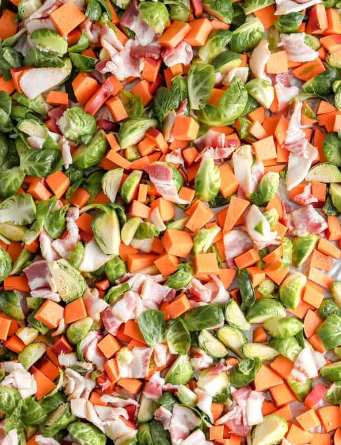 Sweet Potato, Brussels Sprout, Bacon Breakfast Sheet Pan