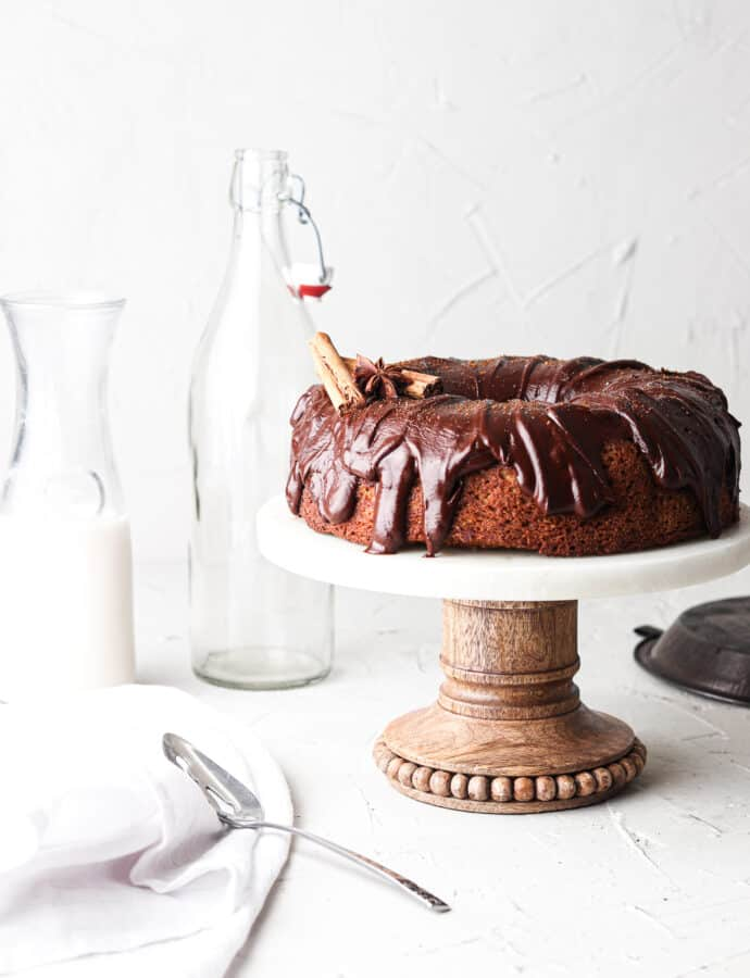 Paleo Pumpkin Bundt Cake With Dairy Free Chocolate Ganache