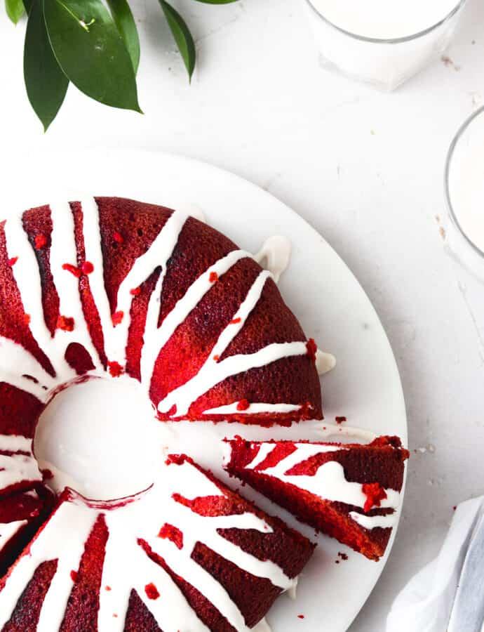 Gluten Free Red Velvet Cake With Almond Cream Frosting