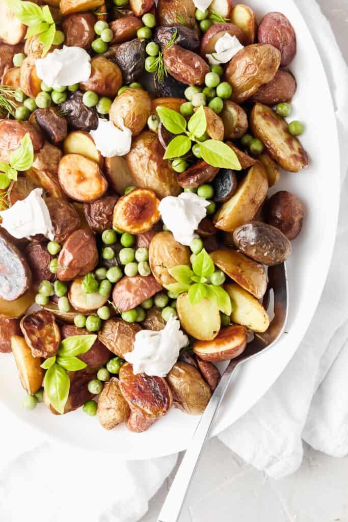 crispy whole30 potatoes, Crispy Whole30 Potatoes With Peas and Dairy Free Ricotta
