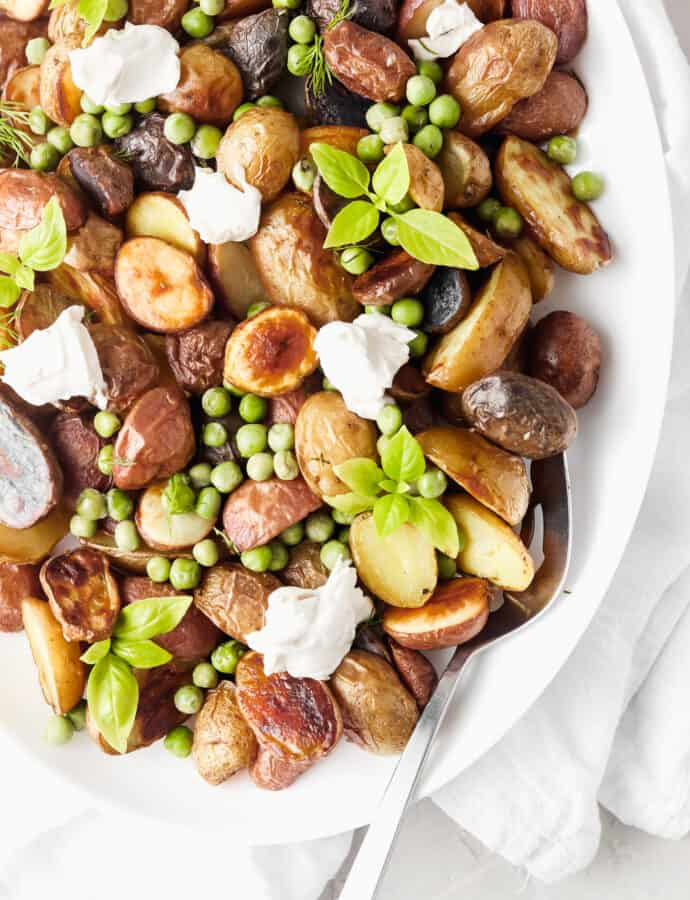 Crispy Whole30 Potatoes With Peas and Dairy Free Ricotta
