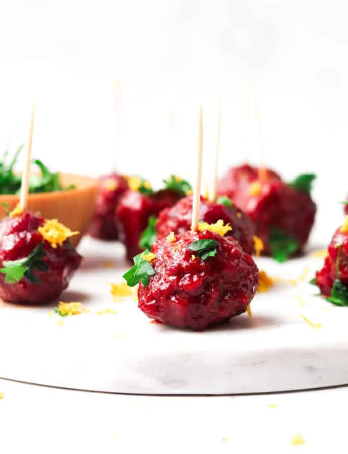Cranberry BBQ Meatballs (Paleo, Whole30)
