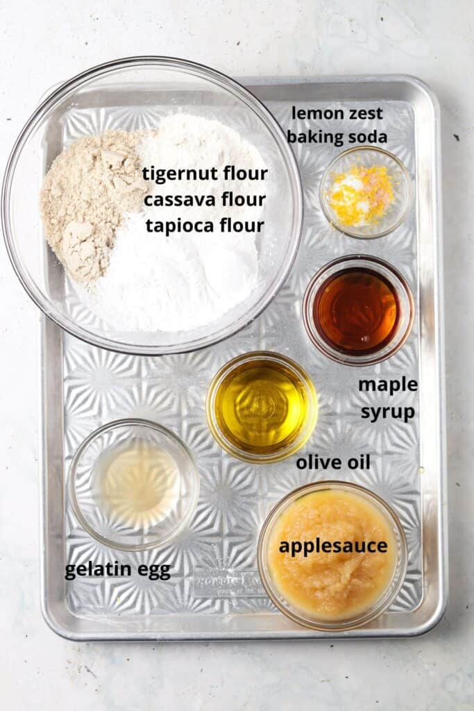 aip cupcake ingredients on a metal tray