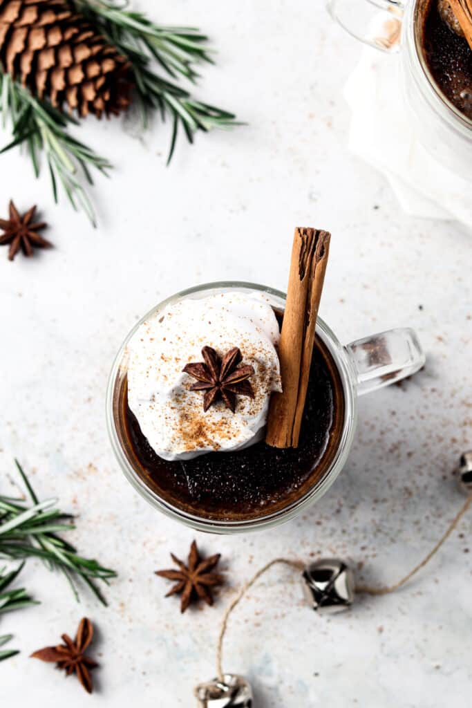 aip hot chocolate overhead shot with Christmas bells