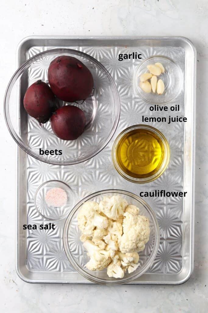 aip hummus ingredients on a metal tray