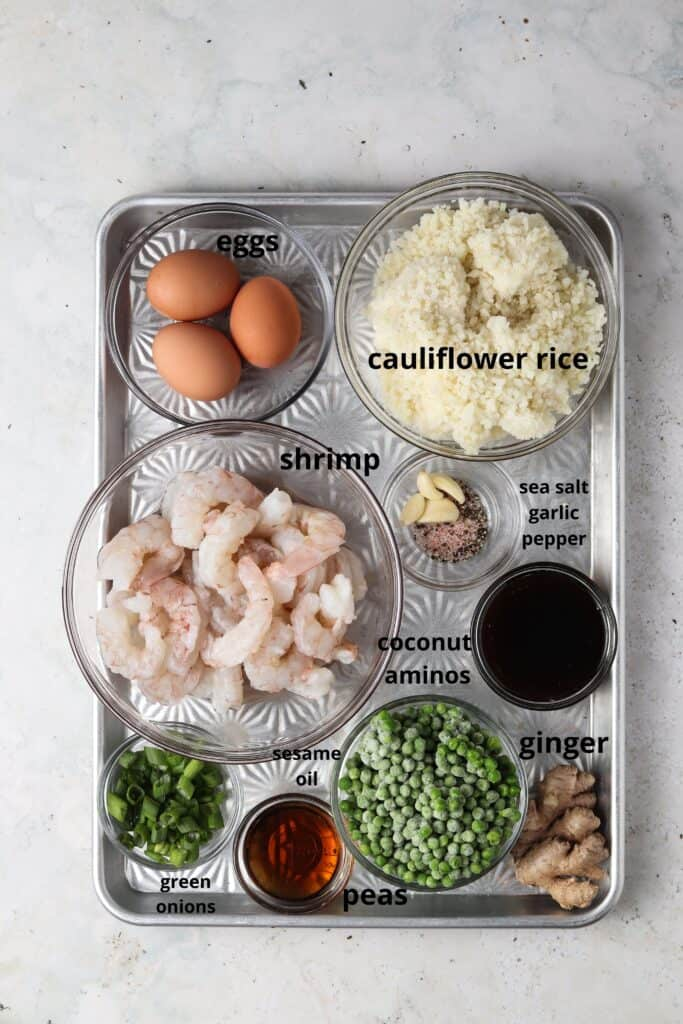 shrimp fried cauliflower rice ingredients on a metal tray