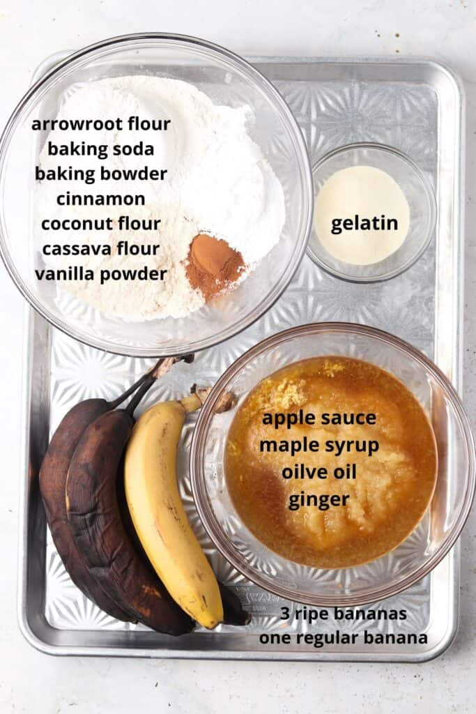 aip banana bread ingredients on a metal tray