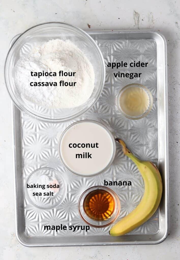 aip pancake ingredients on a metal tray