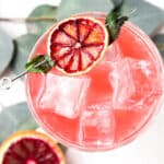 overhead shot of blood orange mocktail