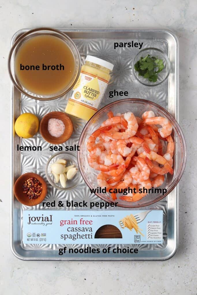 gluten free shrimp scampi ingredients on a metal tray