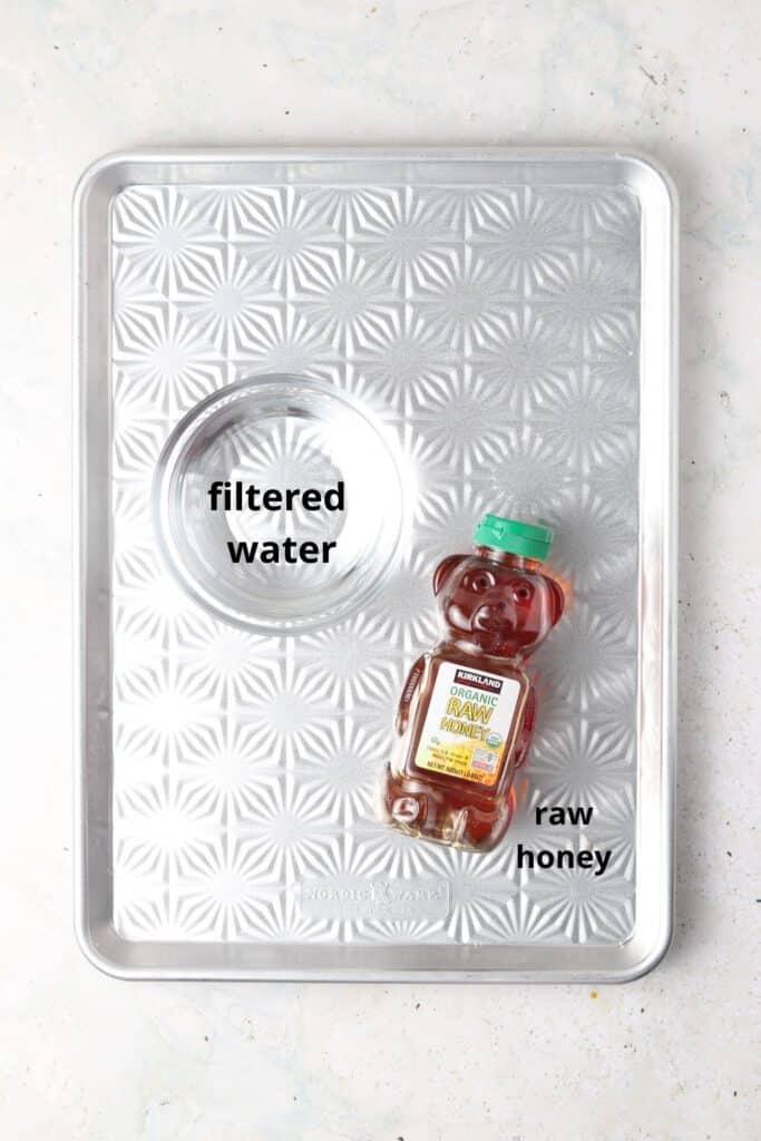 honey simple ingredients on a metal tray