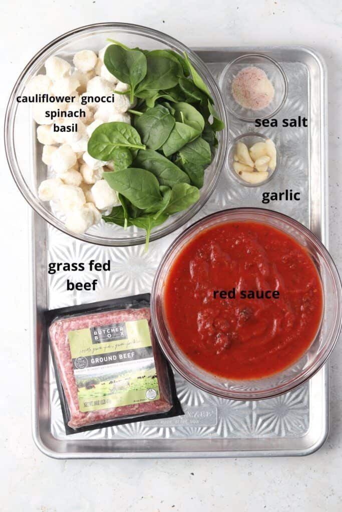 ingredients on a metal tray