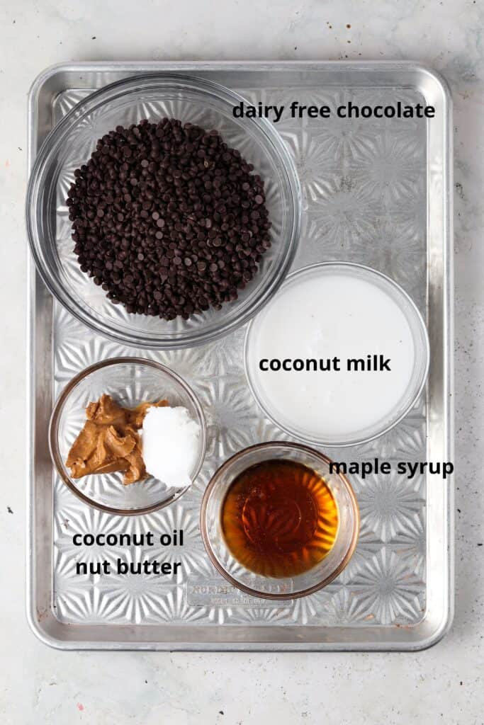 dairy free chocolate truffles ingredients on a metal tray