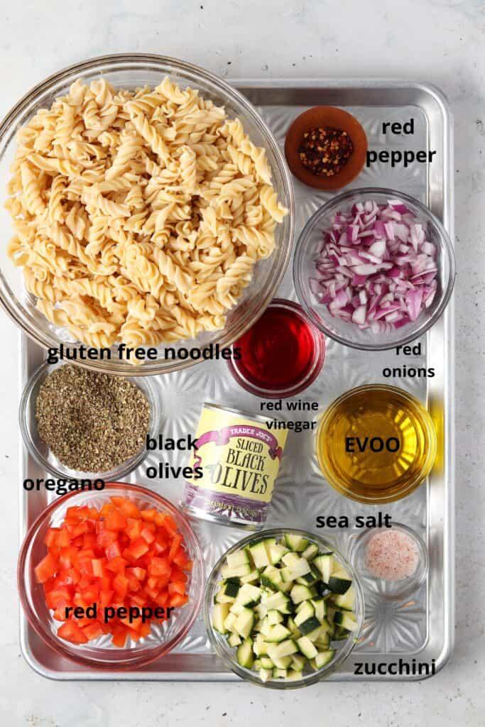 paleo pasta salad ingredients on a metal tray