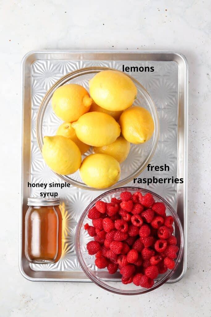 paleo raspberry lemonade ingredients on a tray