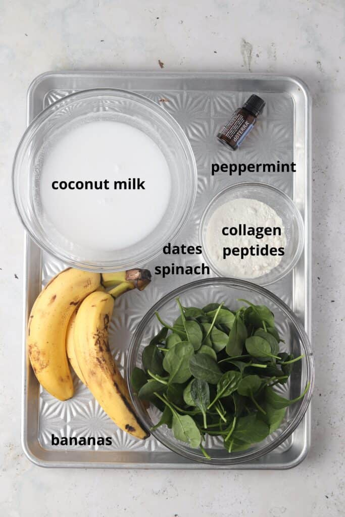 mint smoothie ingredients on a metal tray