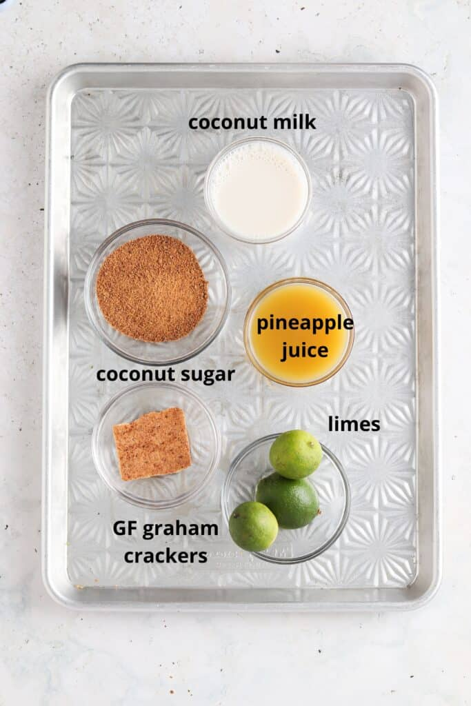 key lime pie mocktail ingredients on a tray