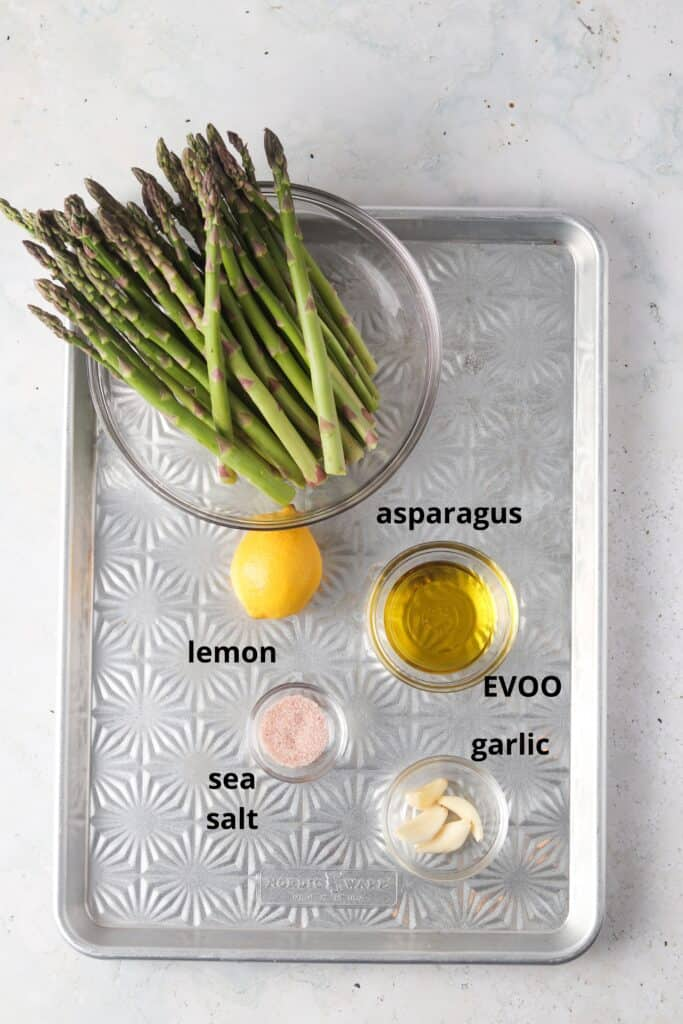 asparagus ingredients on a tray