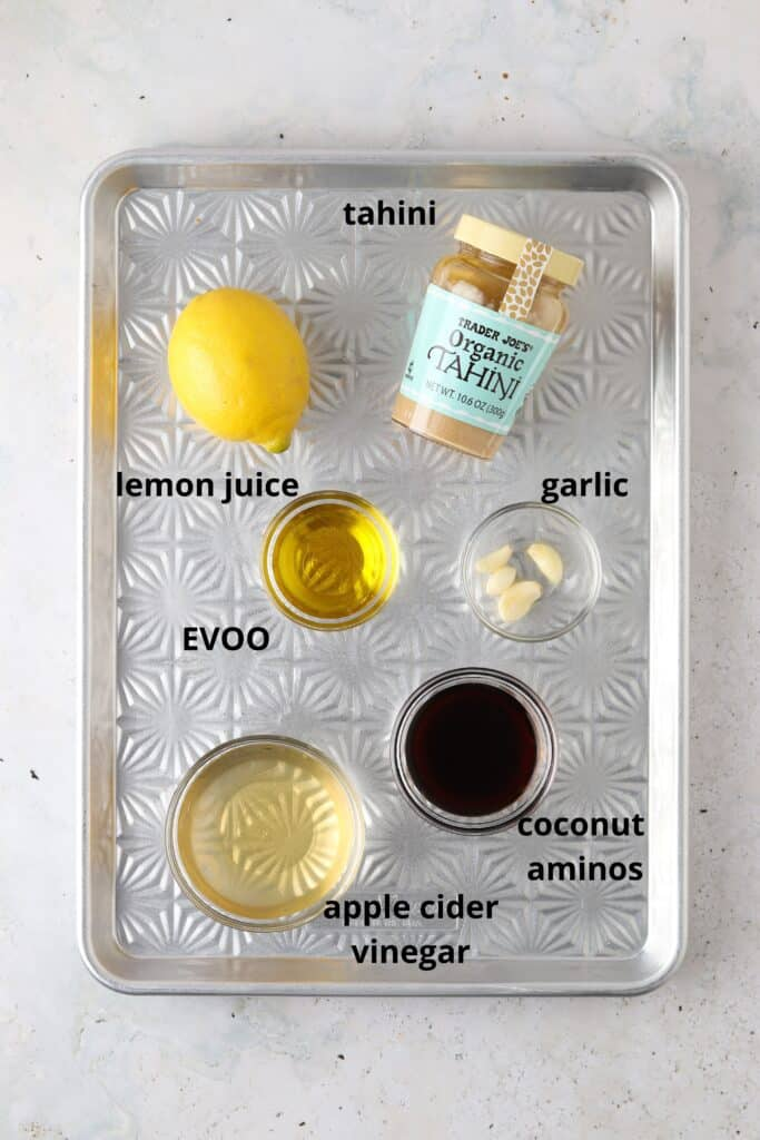 dressing ingredients on a tray