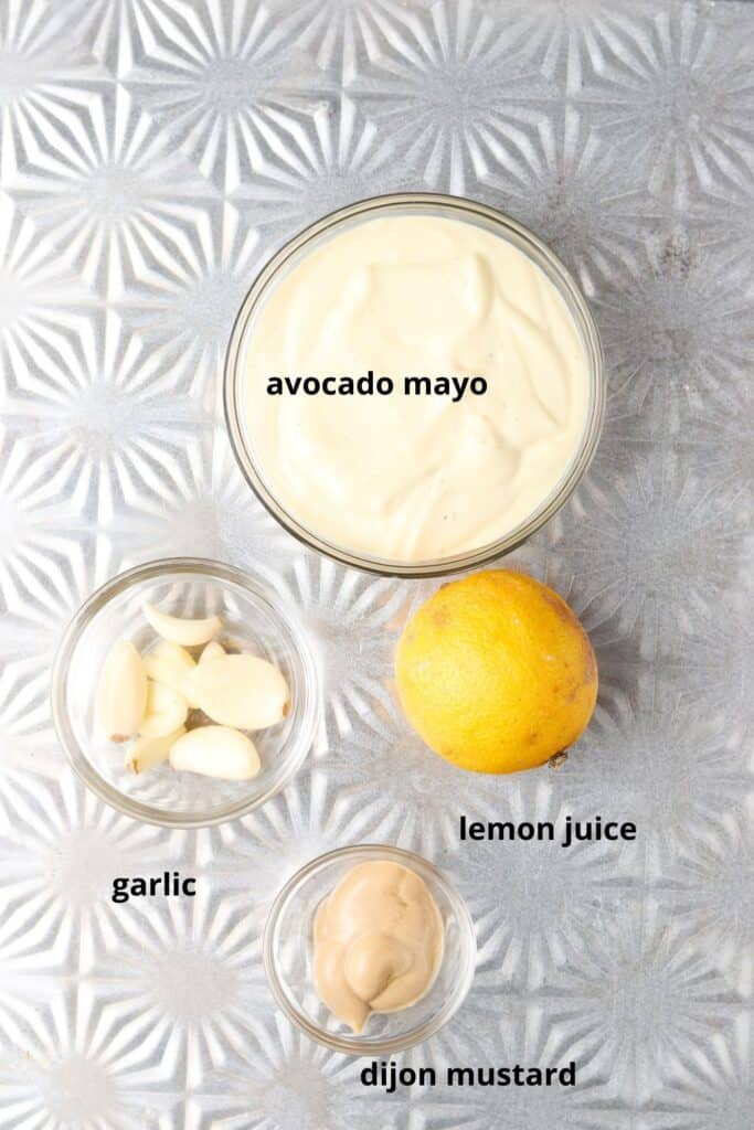 paleo aioli ingredients on a tray