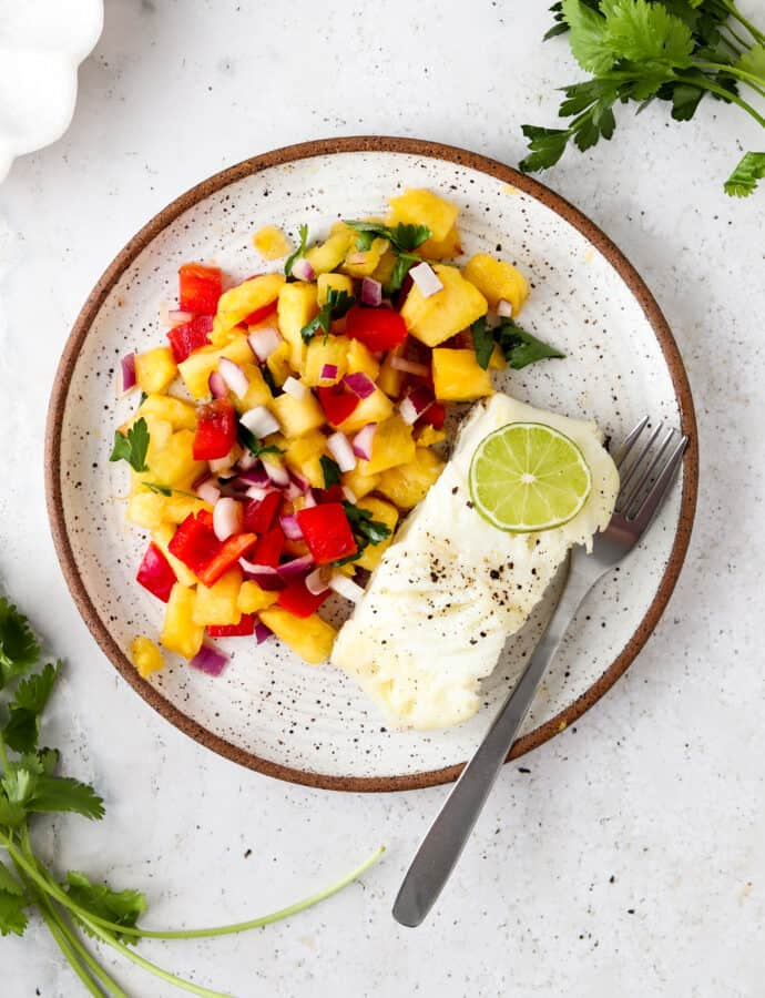 Pan Seared Sea Bass With Tropical Pico De Gallo