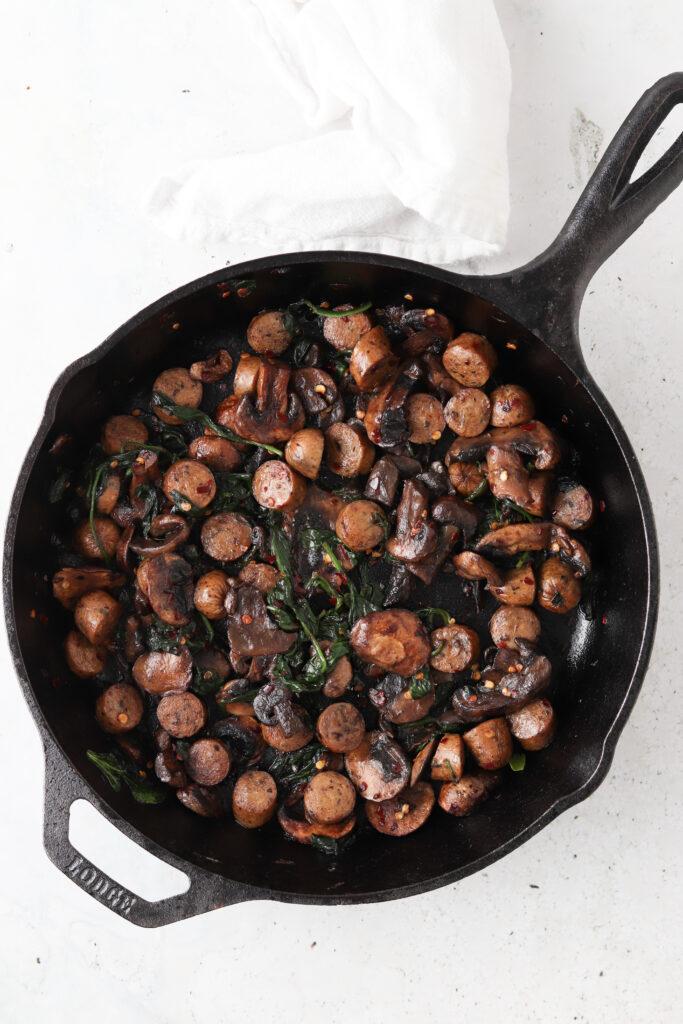 vegetables sautéed in a pan