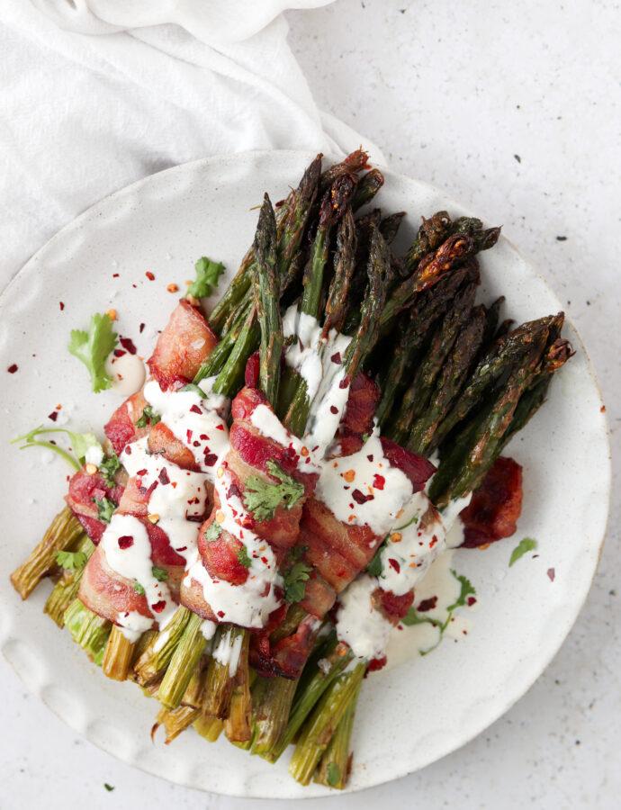 Bacon Wrapped Asparagus With Paleo Garlic Aioli