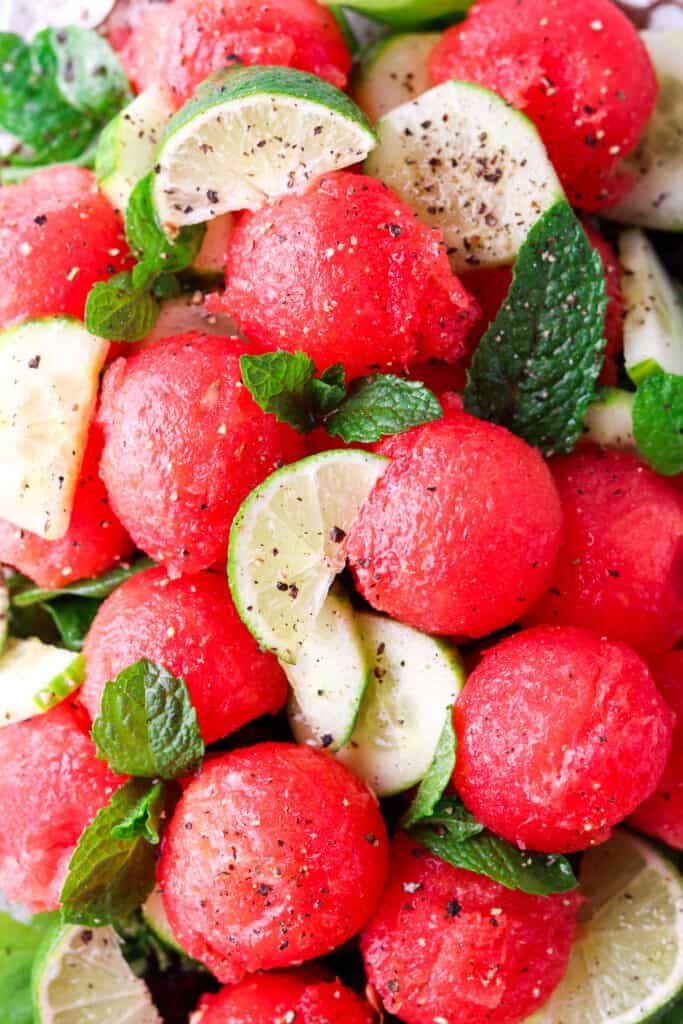 close up picture of the watermelon salad