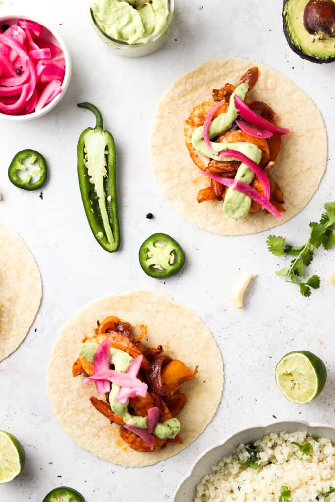 paleo sheet pan tacos laid out