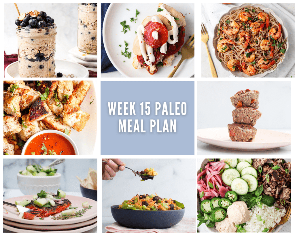 Photo collage of meals in weekly paleo meal plan