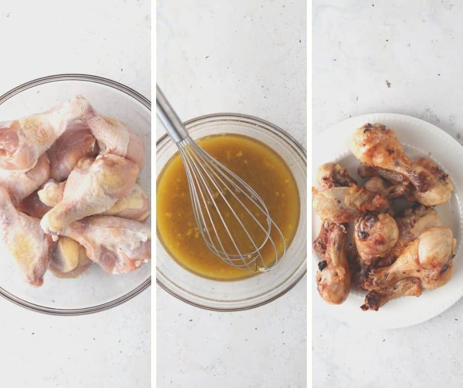 process shots of the raw chicken, grilled chicken and honey sauce