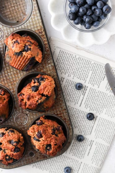paleo blueberry muffins in a tray