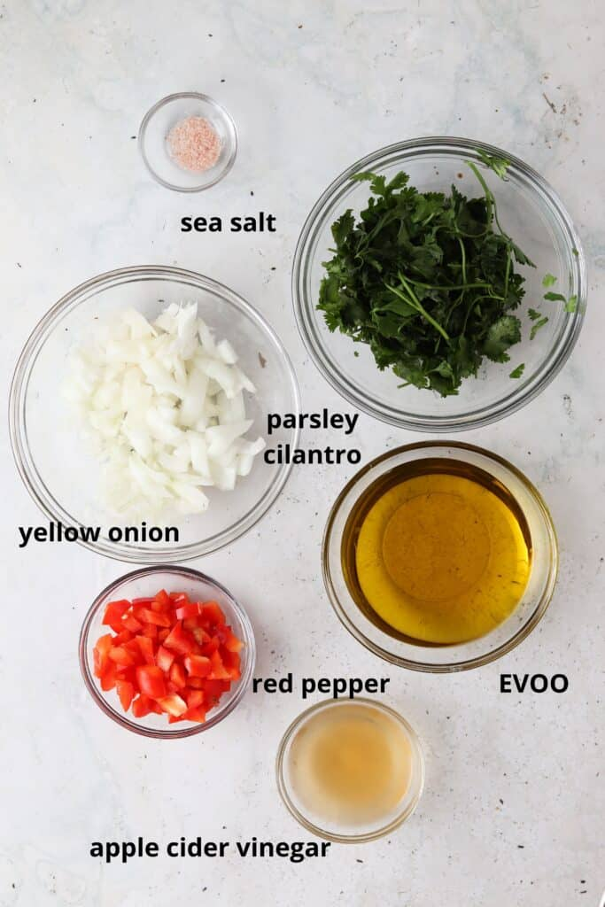 ingredients in a bowl for chimichurri