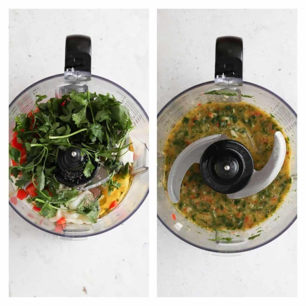 red chimichurri sauce in the food processor