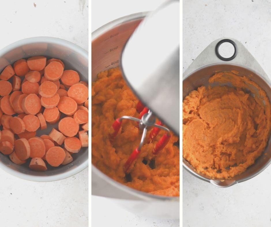 process shots of how to make vegan sweet potato mash