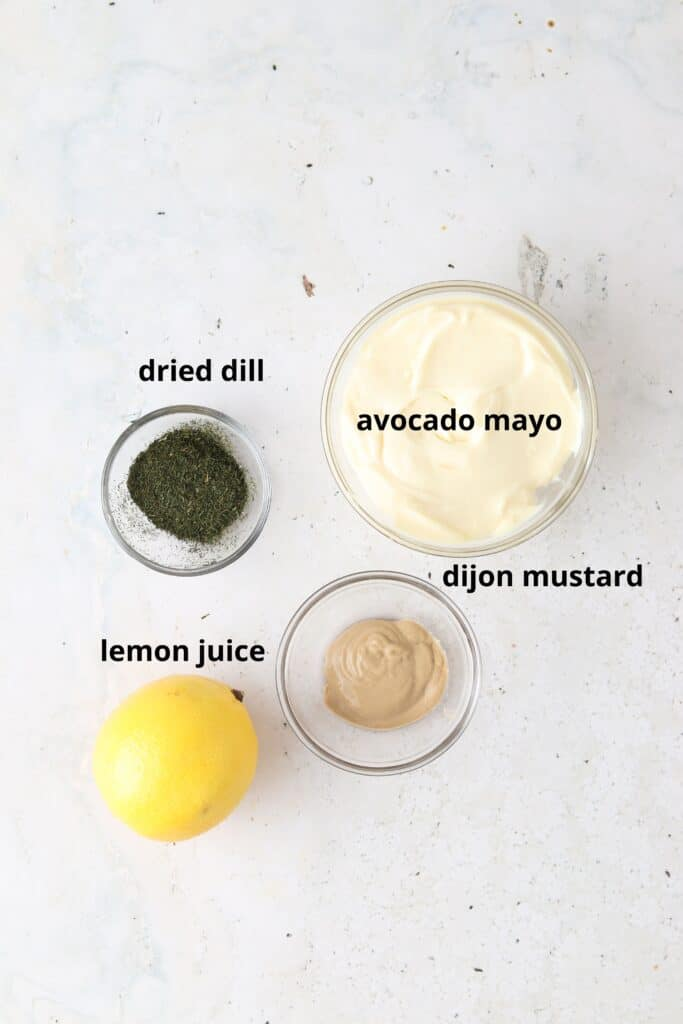 dill aioli ingredients in a bowl