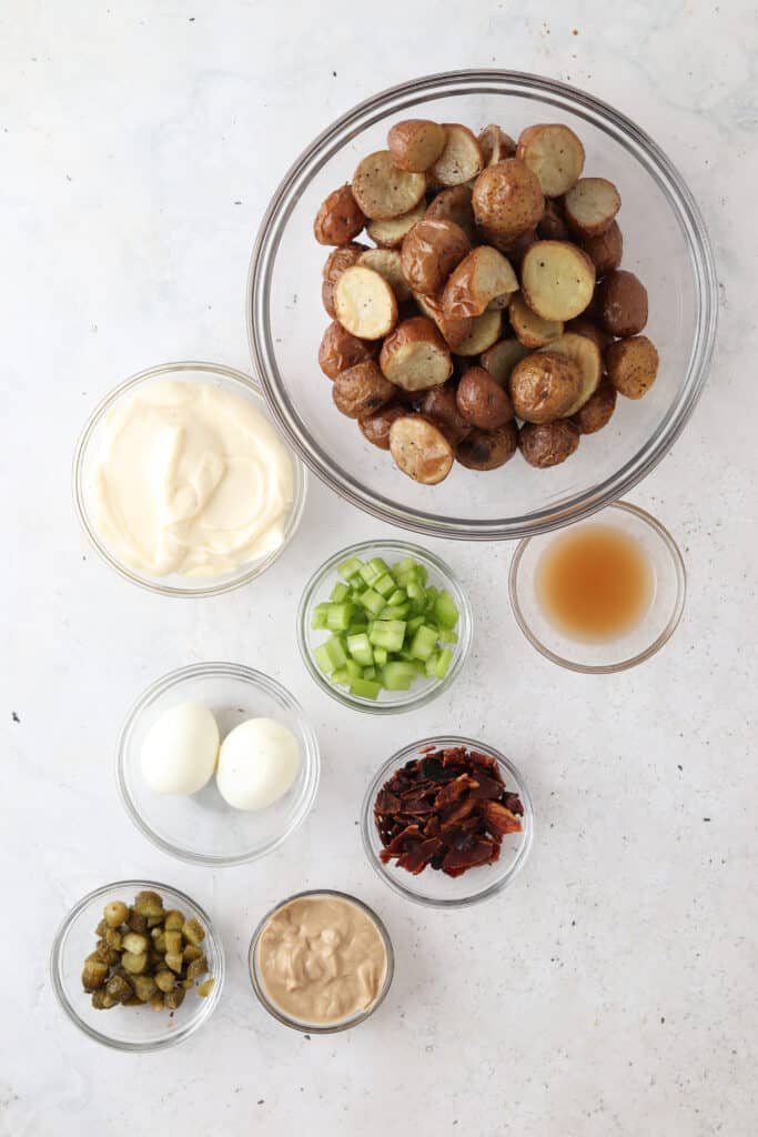 whole30 potato salad ingredients laid out in bowls