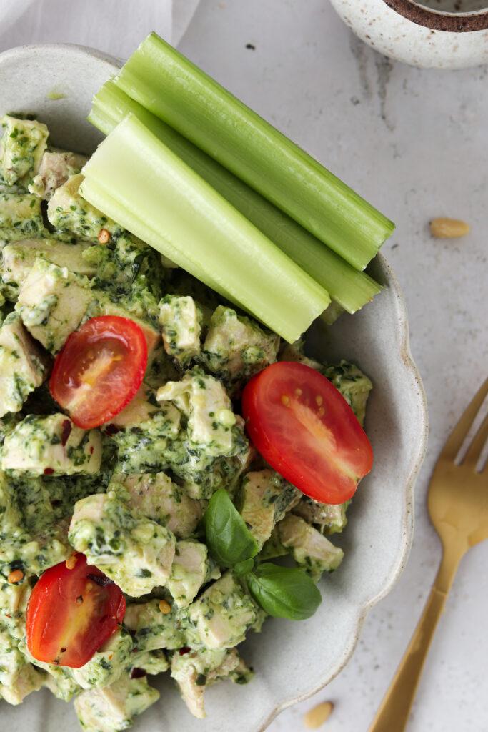 up close photo of chicken salad