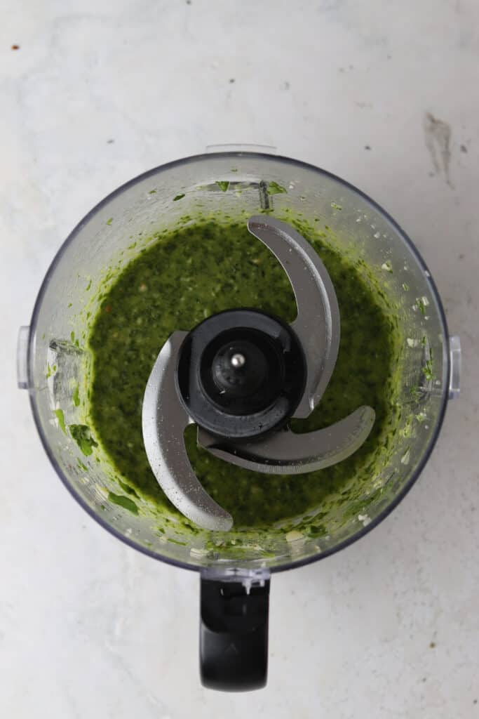 pesto sauce in a blender