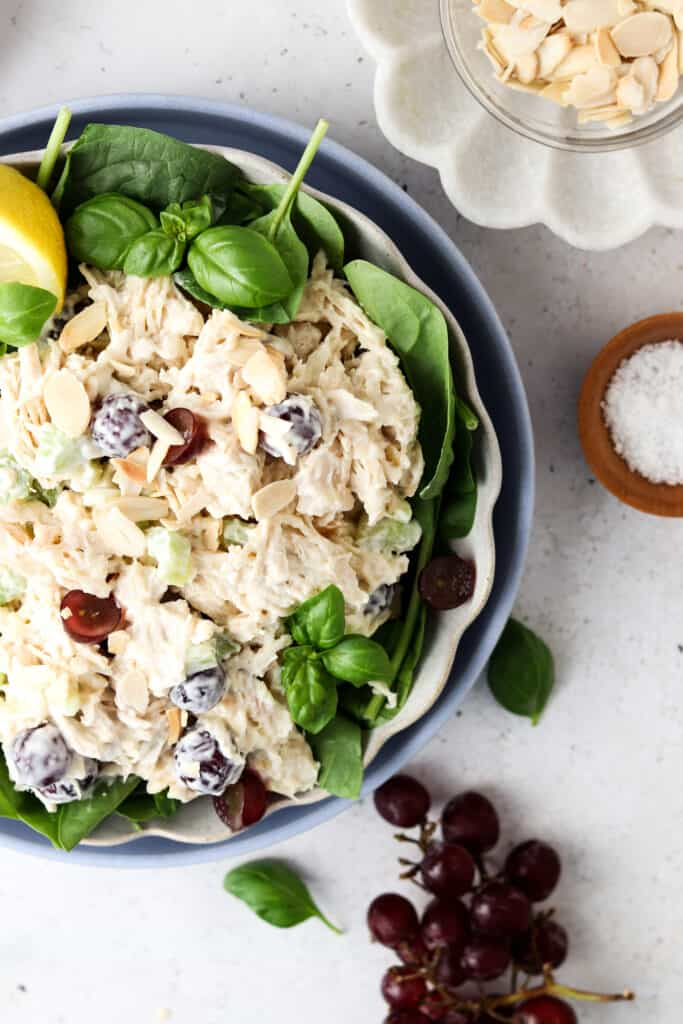 chicken salad with grapes and almond slivers in a bowl