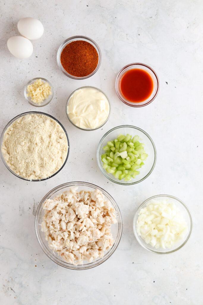crab cake ingredients in a bowl